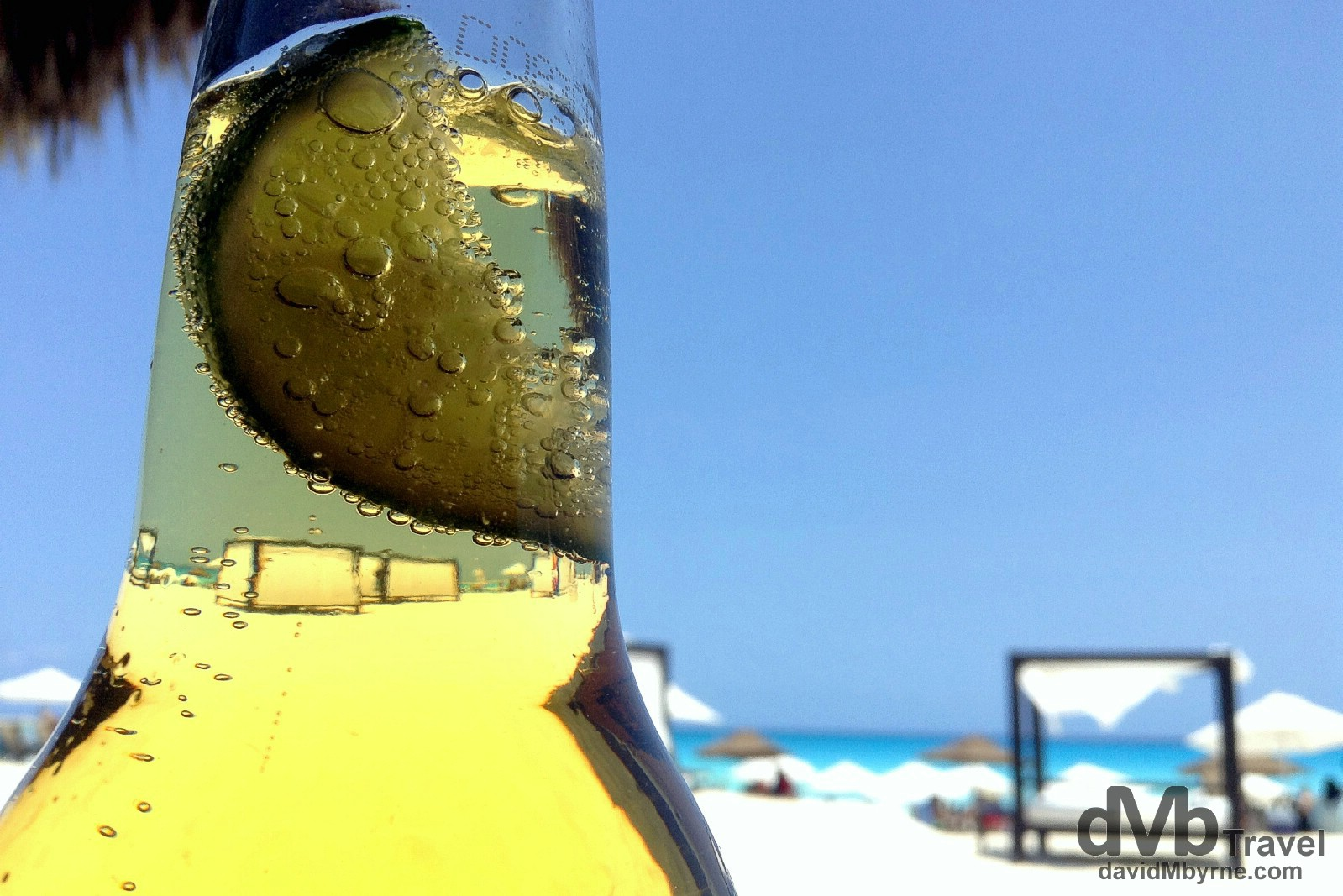 Corona bubbles & lime on Gaviota Azul, Cancun, Yucatan, Mexico. May 5th 2013. (iPod)