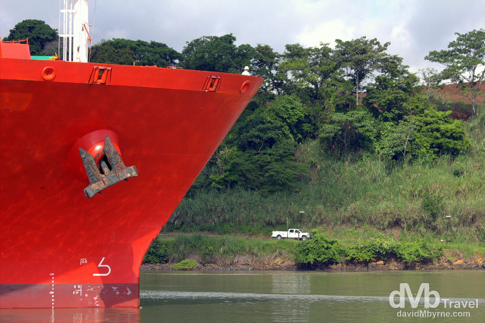 A cargo ship on the final approach to the Miraflores Locks of the Panama Canal, Panama. July 1st 2013.