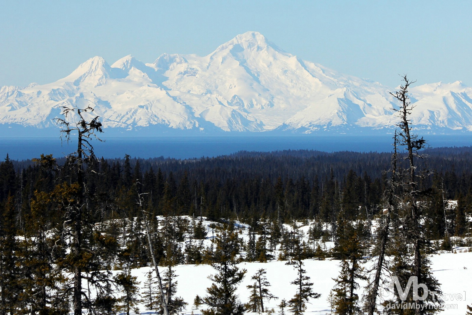 Mount Redoubt as seen from Skyline Drive in Homer, Alaska, USA. March 17th 2013.