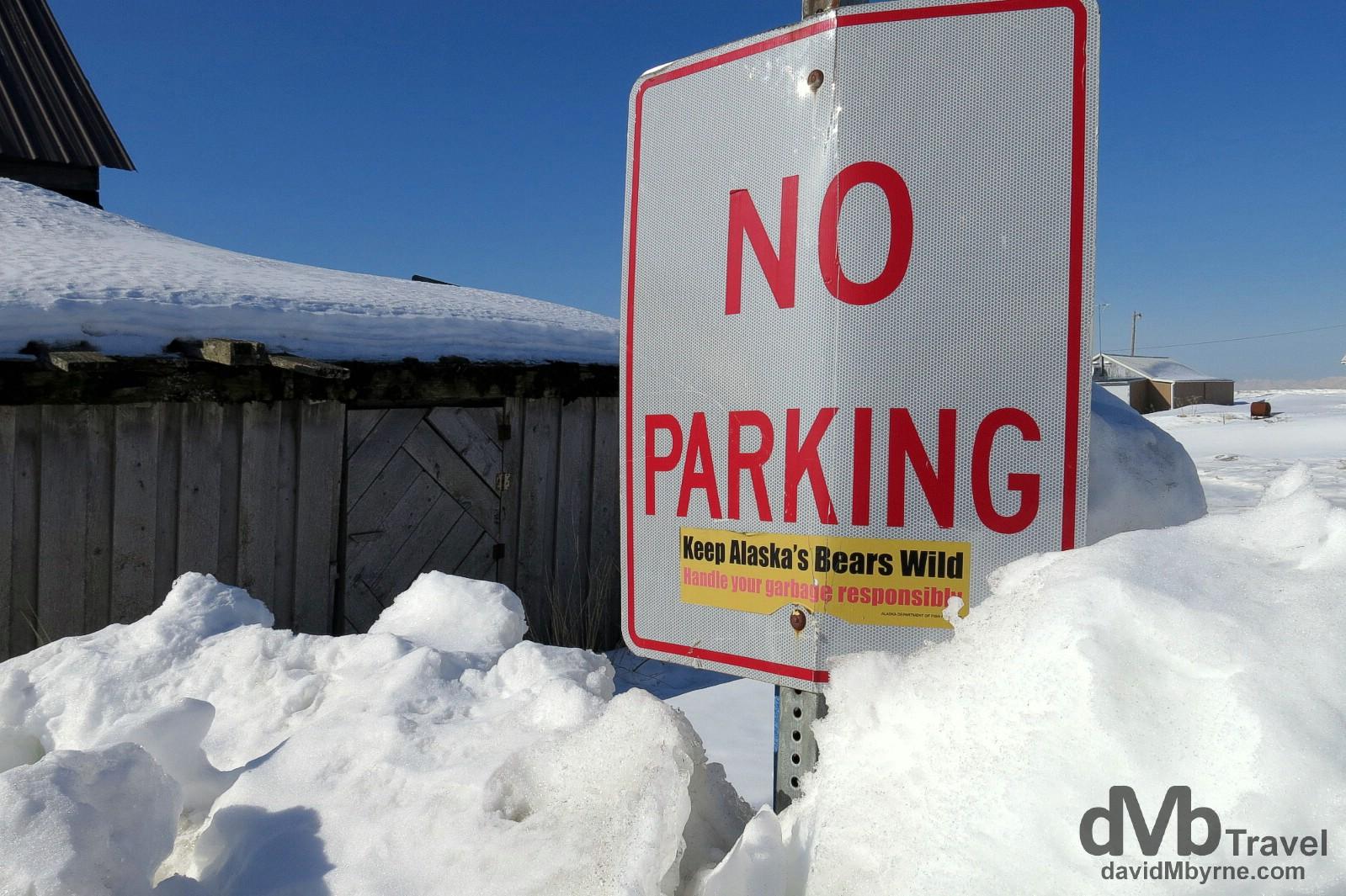 A No Parking sign in the village of Ninilchik on the Kenai Peninsula, Alaska, USA. March 18th 2013.
