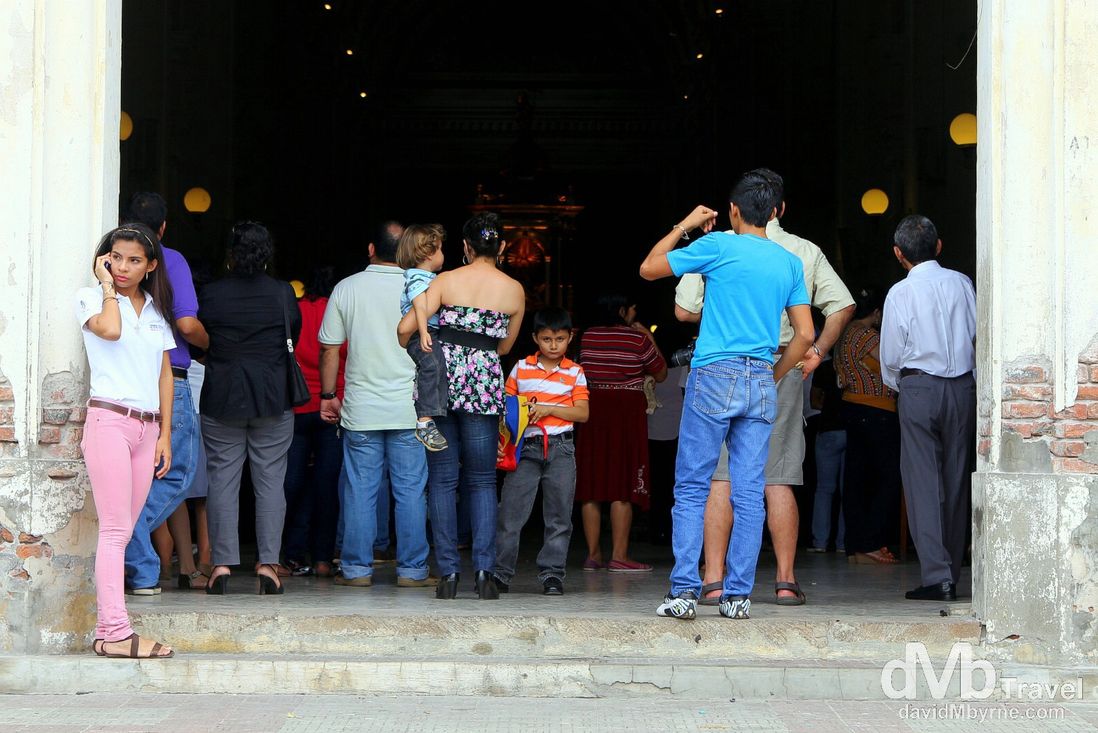 Service overflow on the steps of Leon Cathedral, Leon, Nicaragua. June 16th 2013.