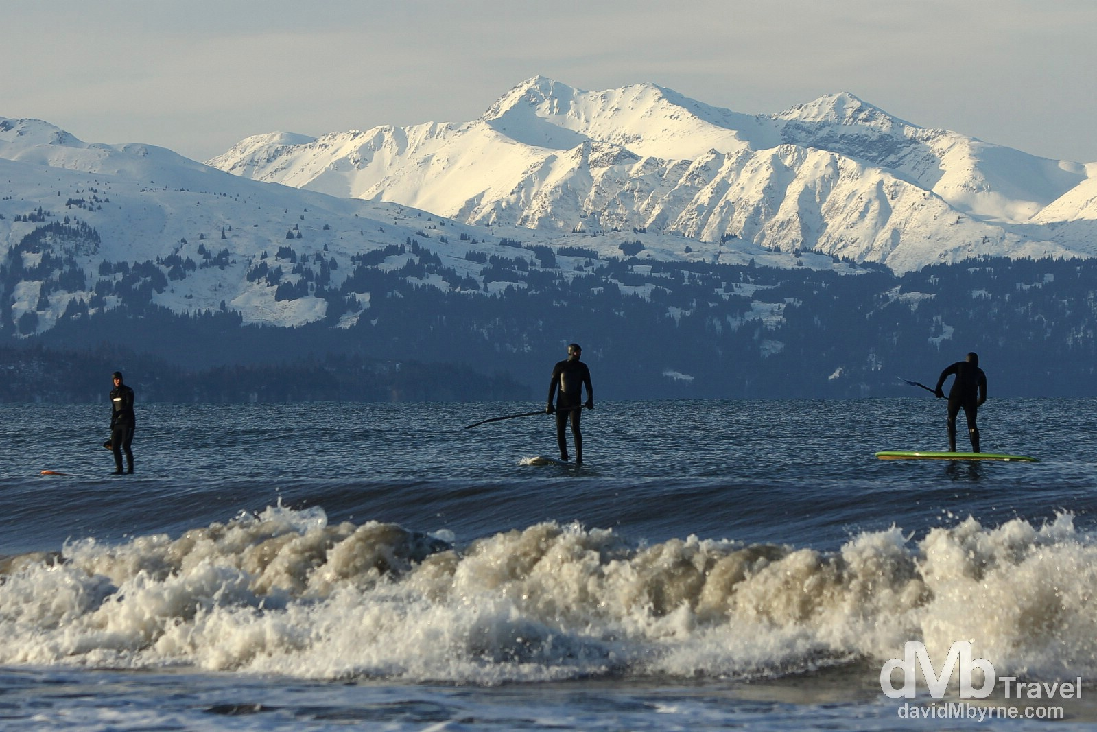 Paddle boarding off the Spit in Homer, Kenai Peninsula, Alaska, USA. March 18th 2103.