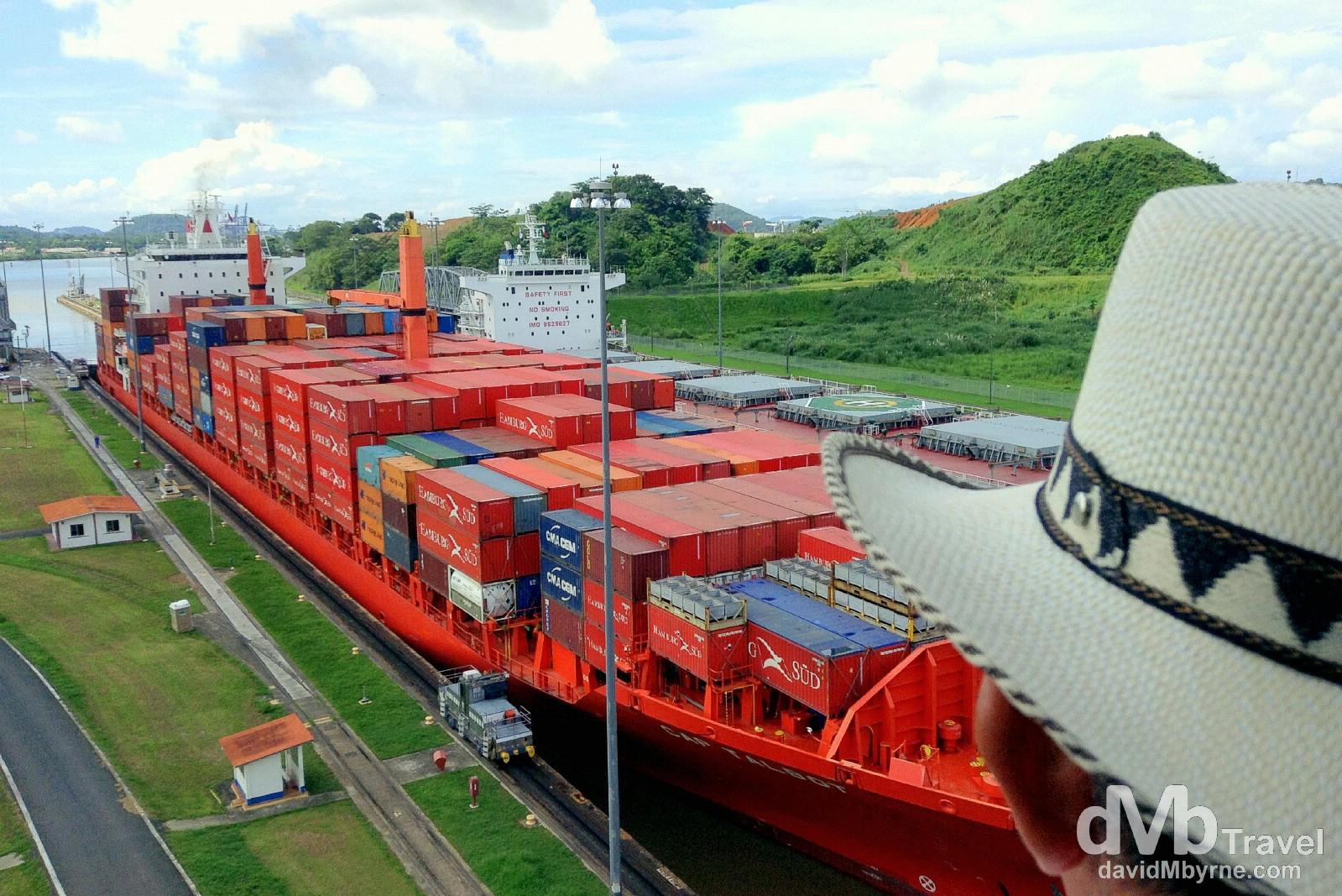 Panama - hat & canal. Miraflores Locks, Panama Canal, Panama. July 1st 2013 (iPod).