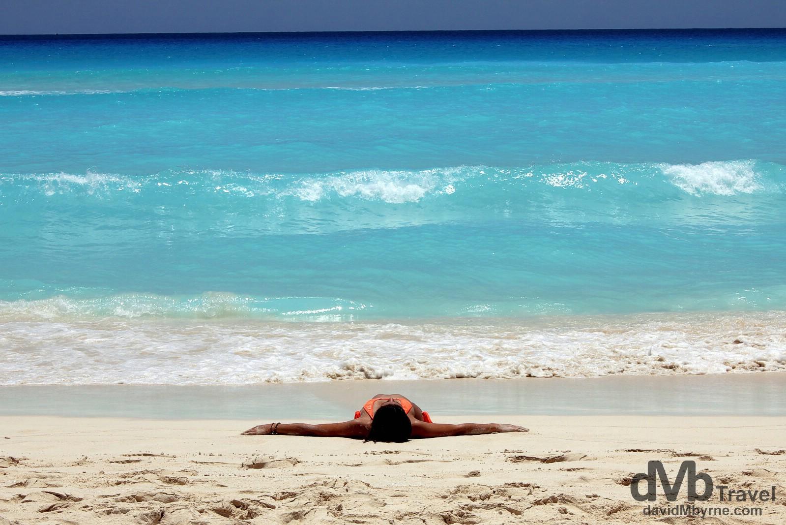 Relaxing on Playa Chac-Mool, Cancun, Yucatan, Mexico. May 5th 2013.