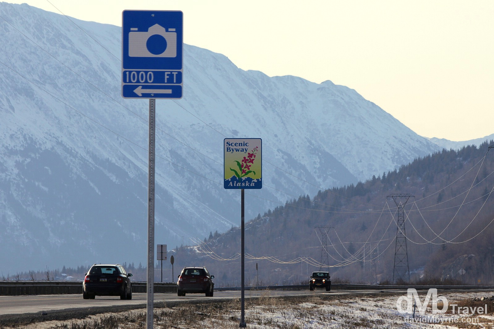 Roadside signage proves advanced warning for upcoming scenic viewpoints. I must have hit most of these scenic vista points while driving both the Seward & Sterling Highways on Alaska's Kenai Peninsula. This particular sign is on the Seward Highway not too far from Anchorage. Alaska, USA. March 18th 2013.