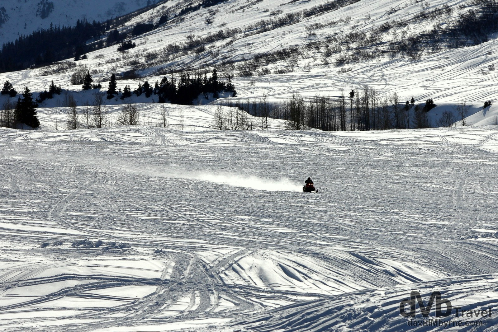 Snowmobile action of the Seward Highway, Kenai Peninsula, Alaska, USA. March 18th 2013.