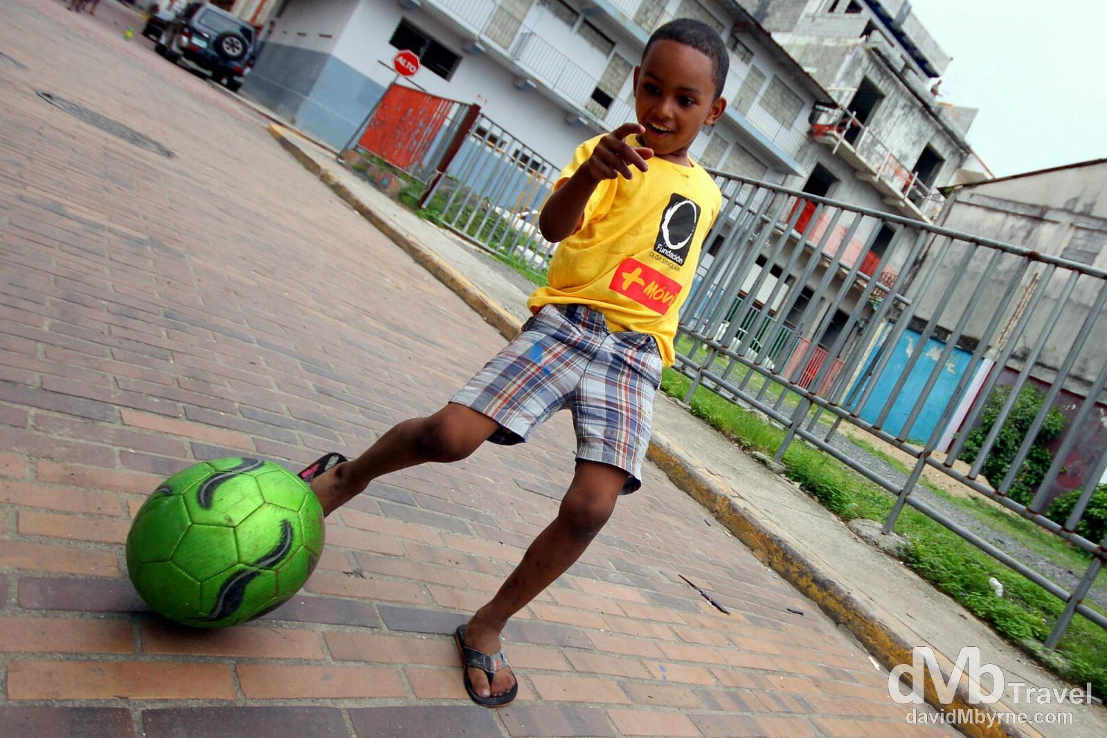 Soccer on the streets of Casco Viejo, Panama City, Panama. July 1st 2013.