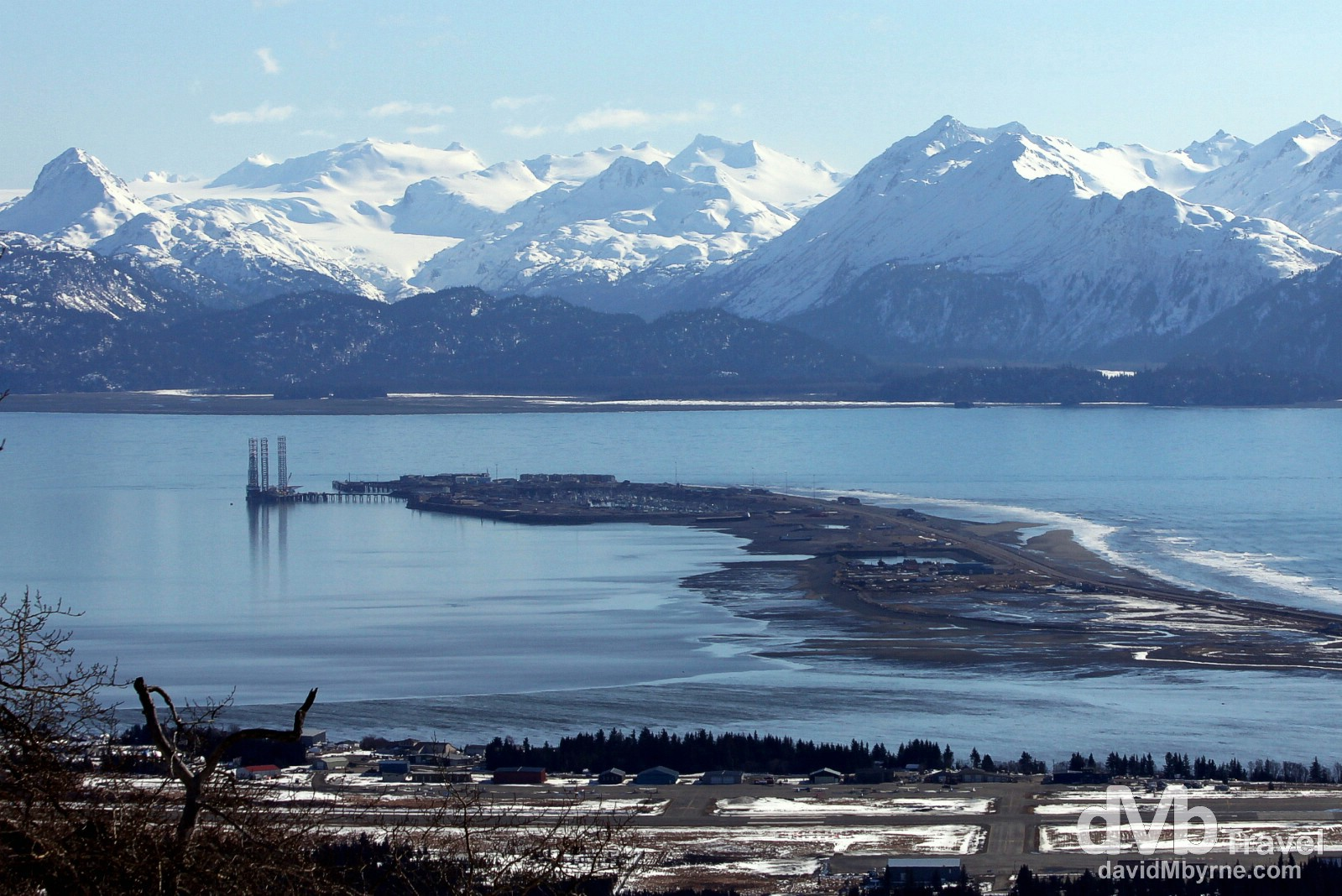The Homer Spit as seen from Skyline Drive in Homer, Kenai Peninsula, Alaska, USA. March 17th 2013.