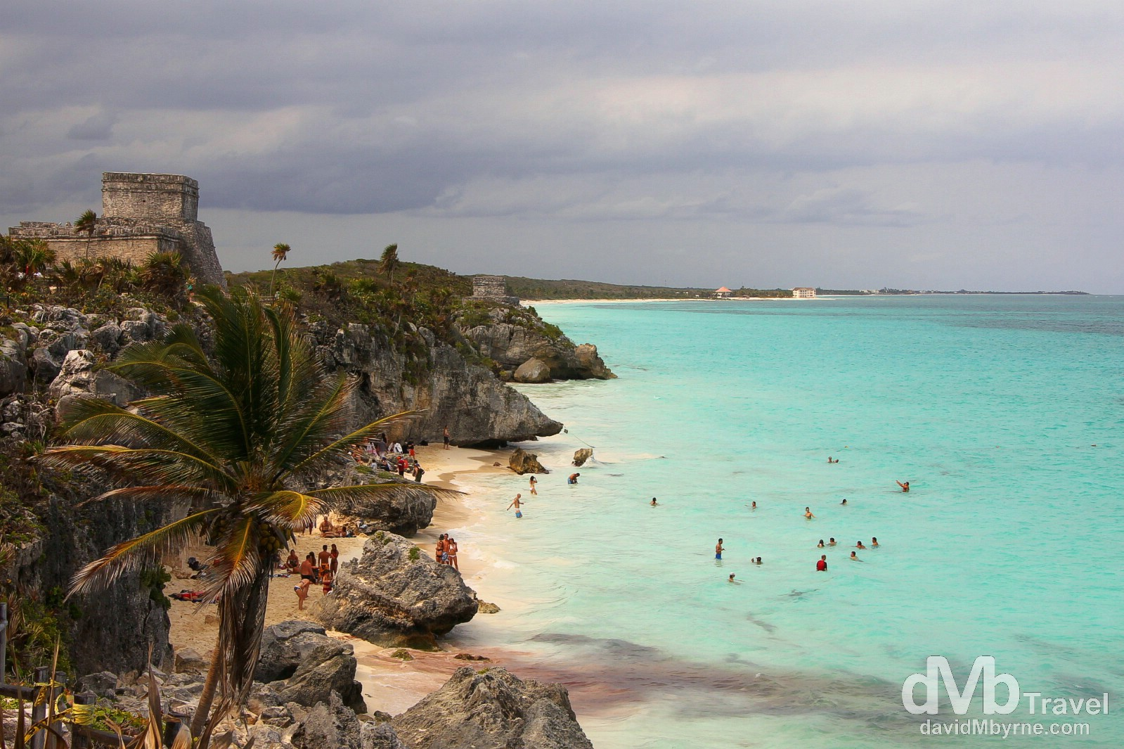 The Mayan ruins of Tulum overlooking the Caribbean Coast, Yucatan Peninsula, Mexico. May 6th 2013.