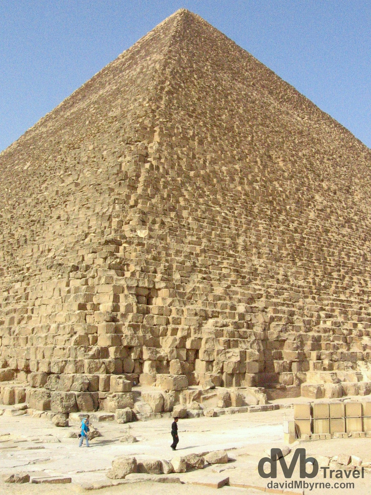 At the base of The Great Pyramid of Khufu on The Giza Plateau, Giza, Egypt. April 13, 2008.