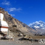 A stupa of the Rongbuk Monastery in view of the north face of Mt. Everest. Tibet, China. March 2nd 2008
