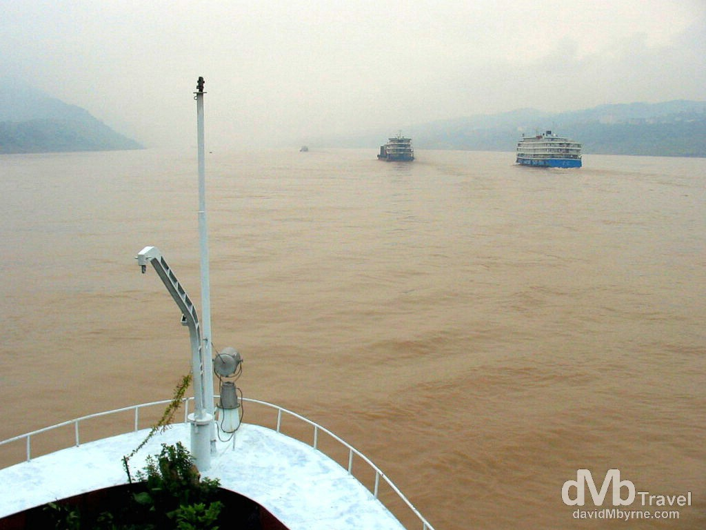 Boating on the Yangtze River, central China. September 26th, 2004.