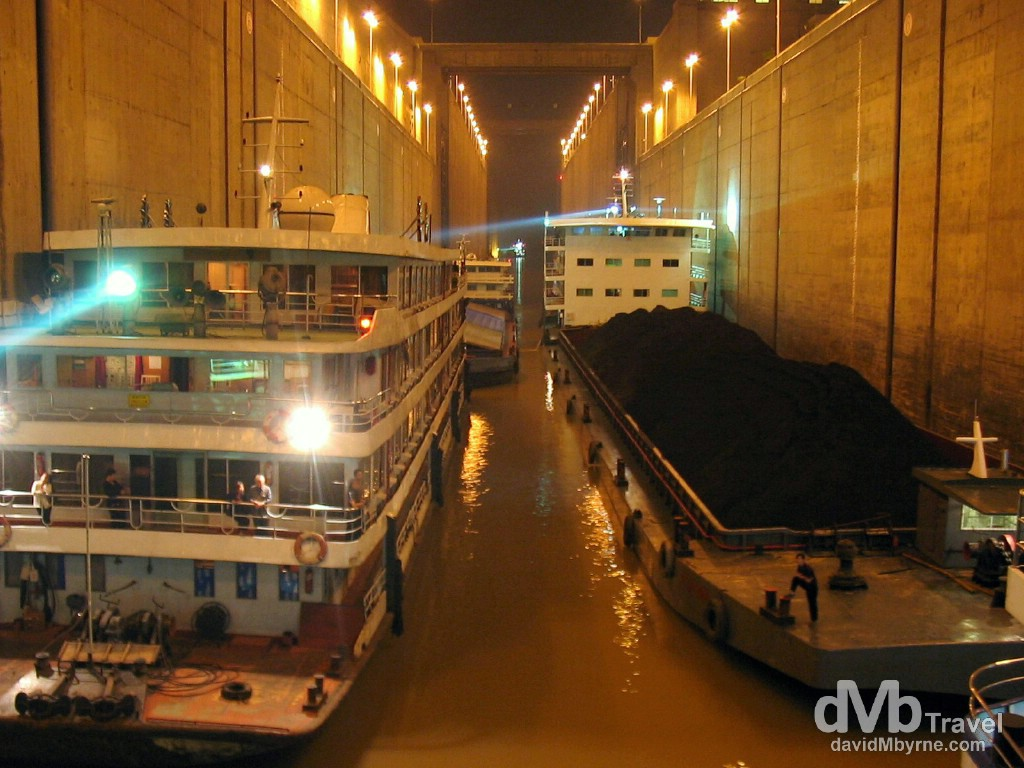 Passing through a massive lock of the Three Gorges Dam near Yichang, Hubei Province, China. September 27th, 2004.