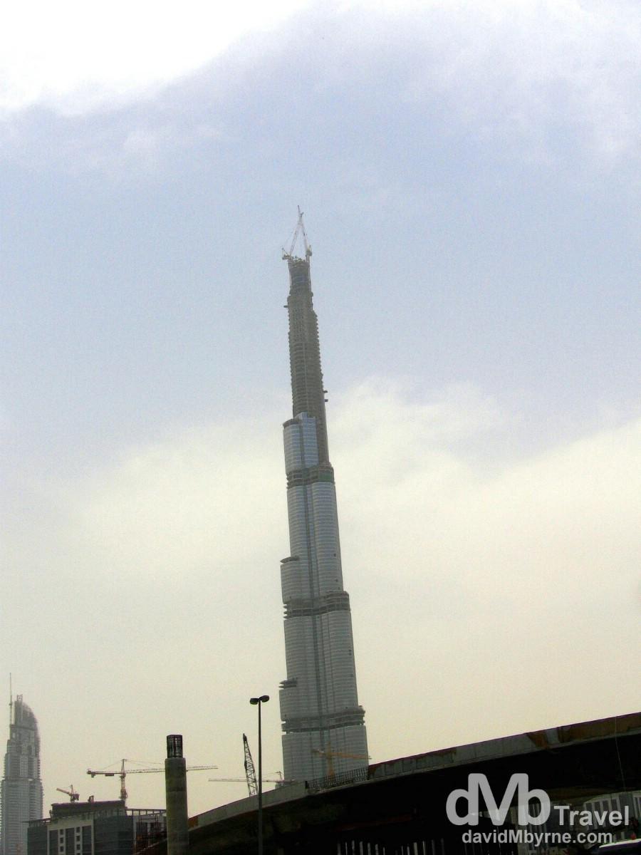 Under construction. The Burj Dubai Tower in Dubai, United Arab Emirates. April 8th, 2008.