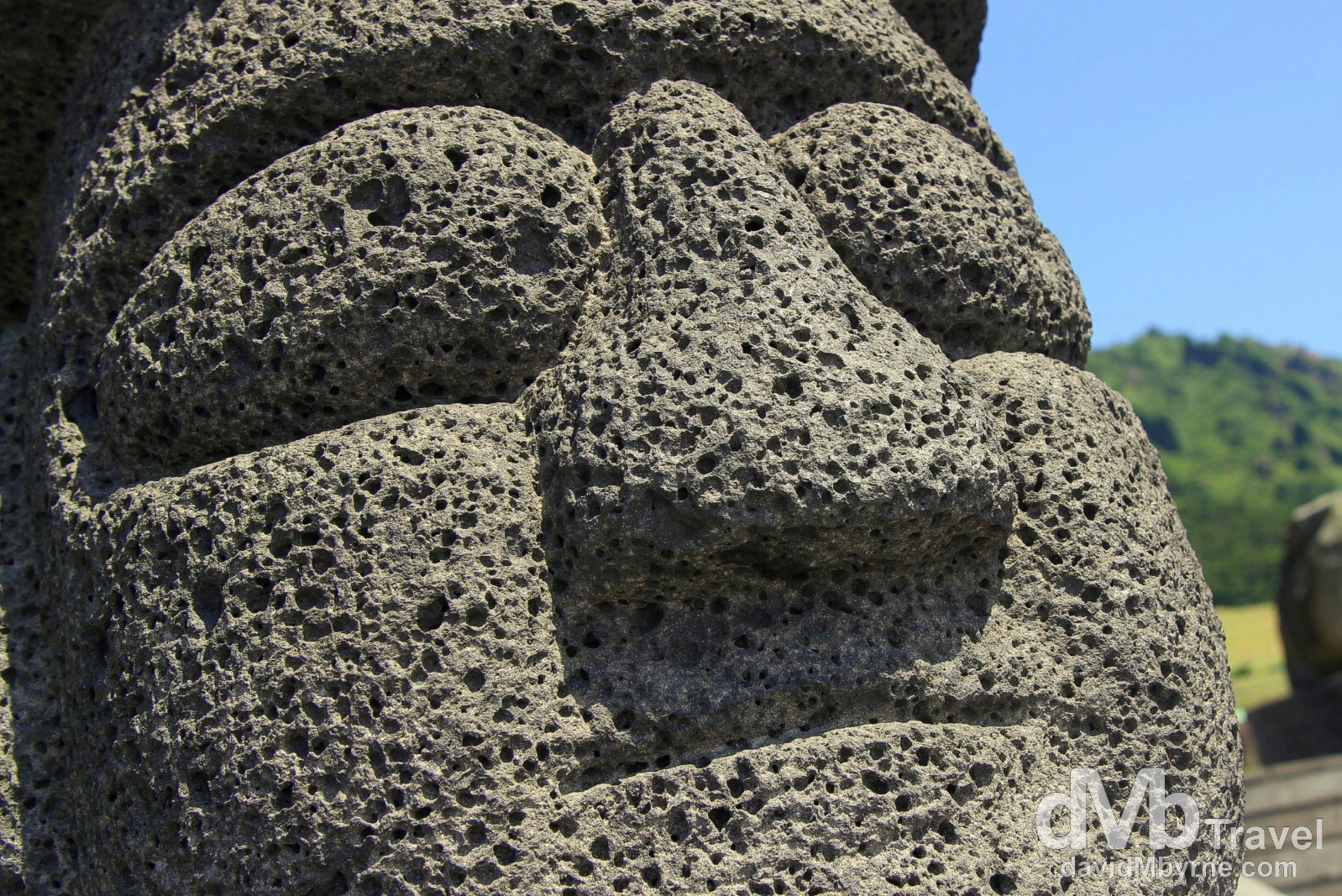 The face of Jeju Island's symbolic Dol Hareubang, aka the 'Grandfather Statues'. Jeju-do, South Korea. July 16th, 2011