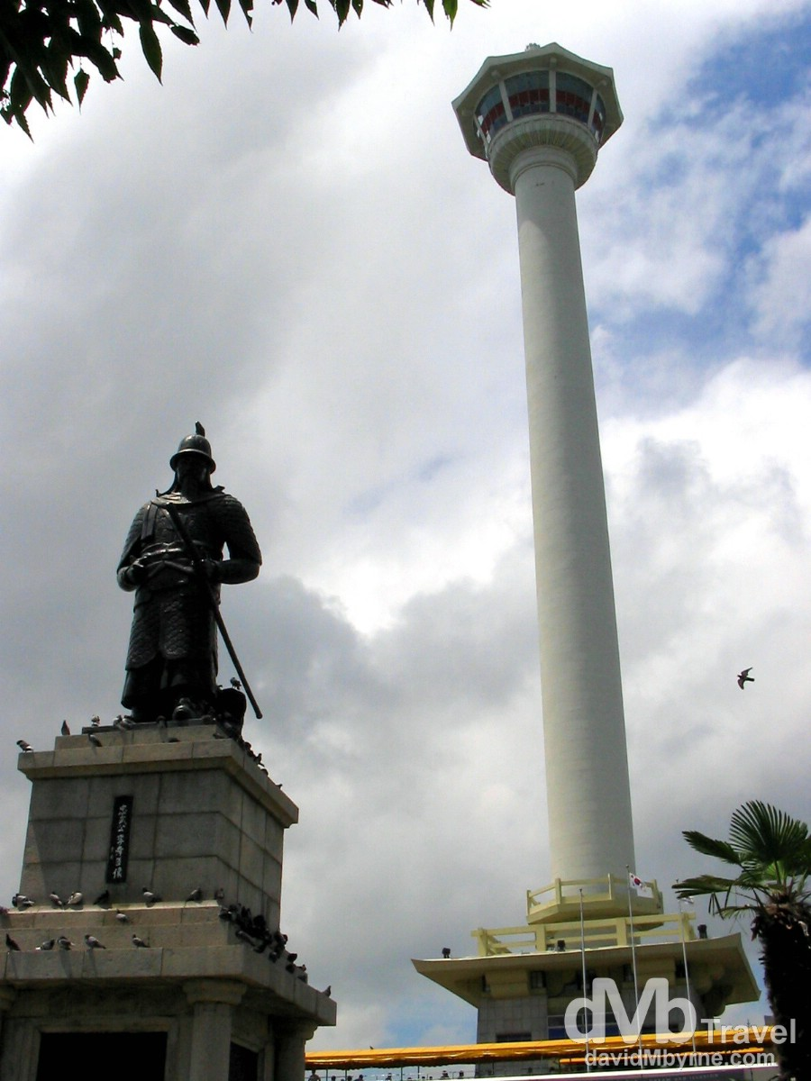 The Admiral Yi Sun-shin statue & Busan Tower in Yongdusan Park, Busan, South Korea. July 19th 2004