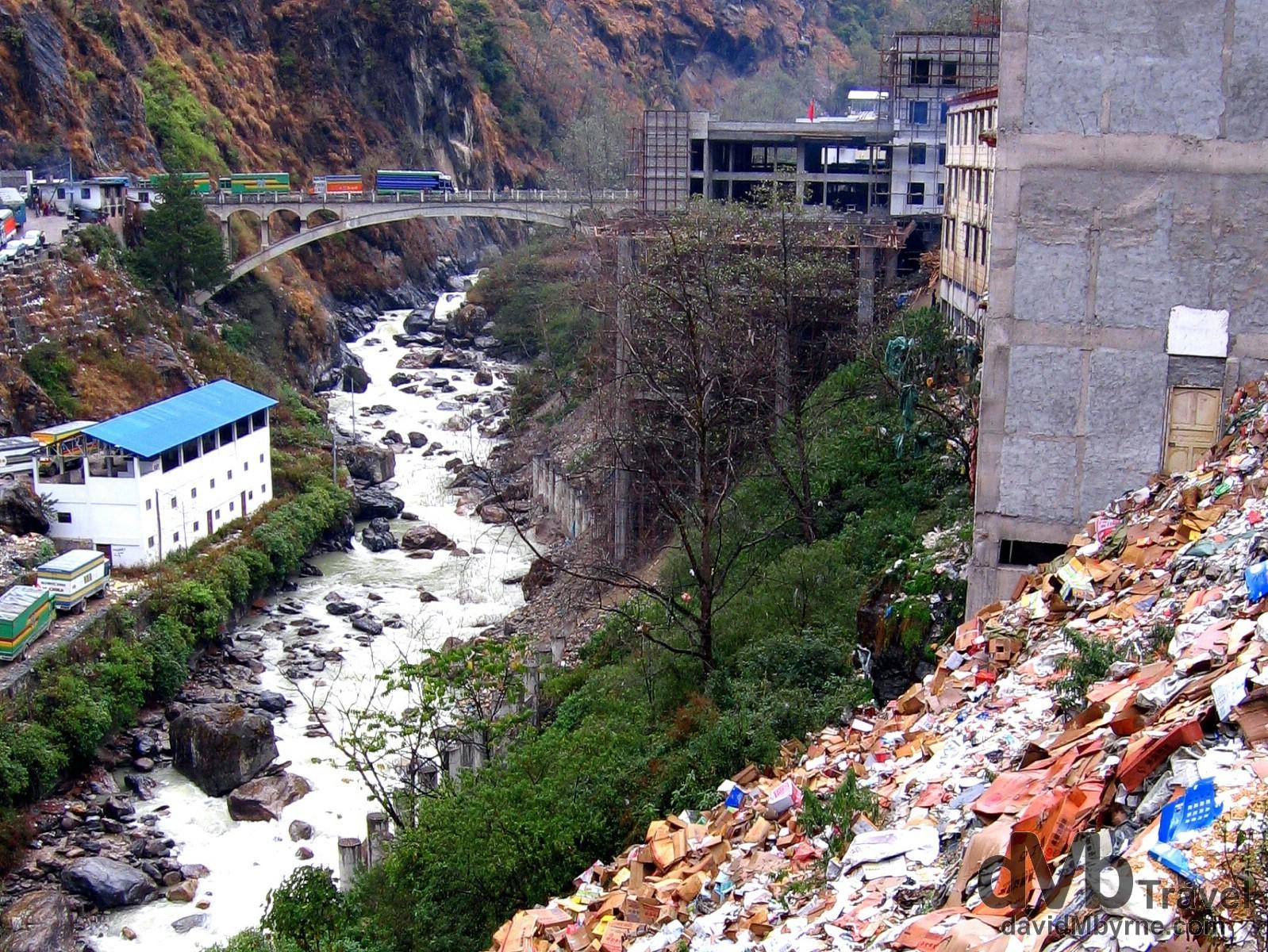The Friendship Bridge at the Zhangum, China (right) / Kodari, Nepal (left) border crossing. March 3rd 2008