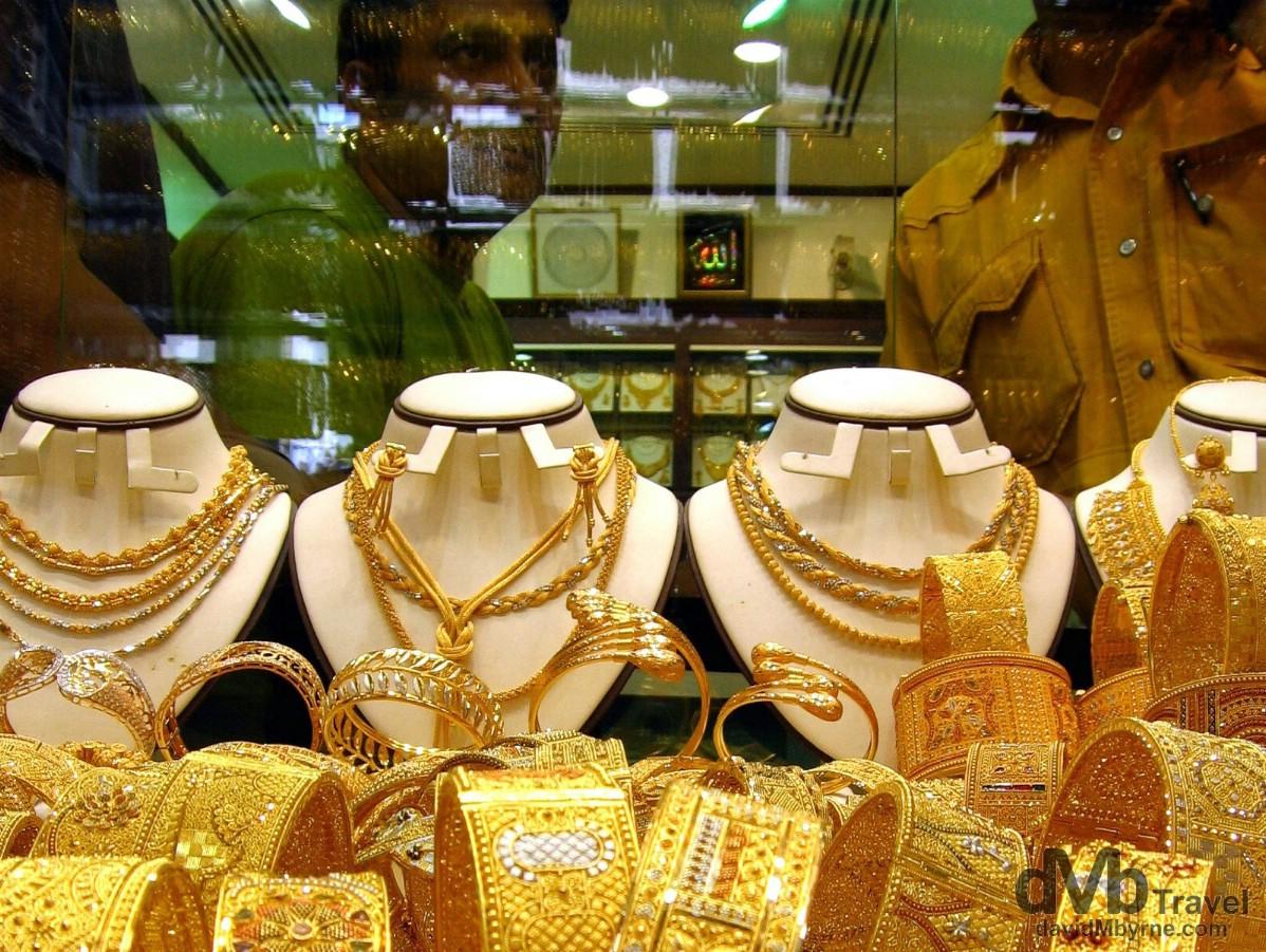 Bling in the Gold Souq (market), Al Ras, Dubai, United Arab Emirates. April 7th, 2008.