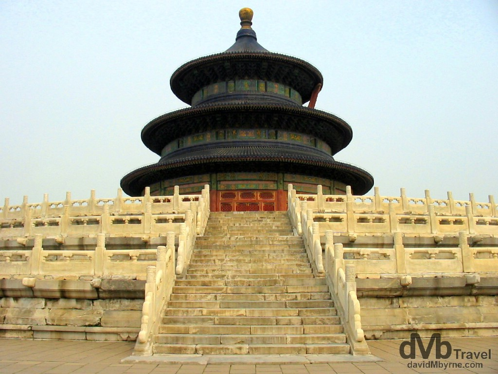 The stunning Hall of Prayer for Good Harvests in the Temple of Heaven complex, Beijing, China. August 24th, 2004