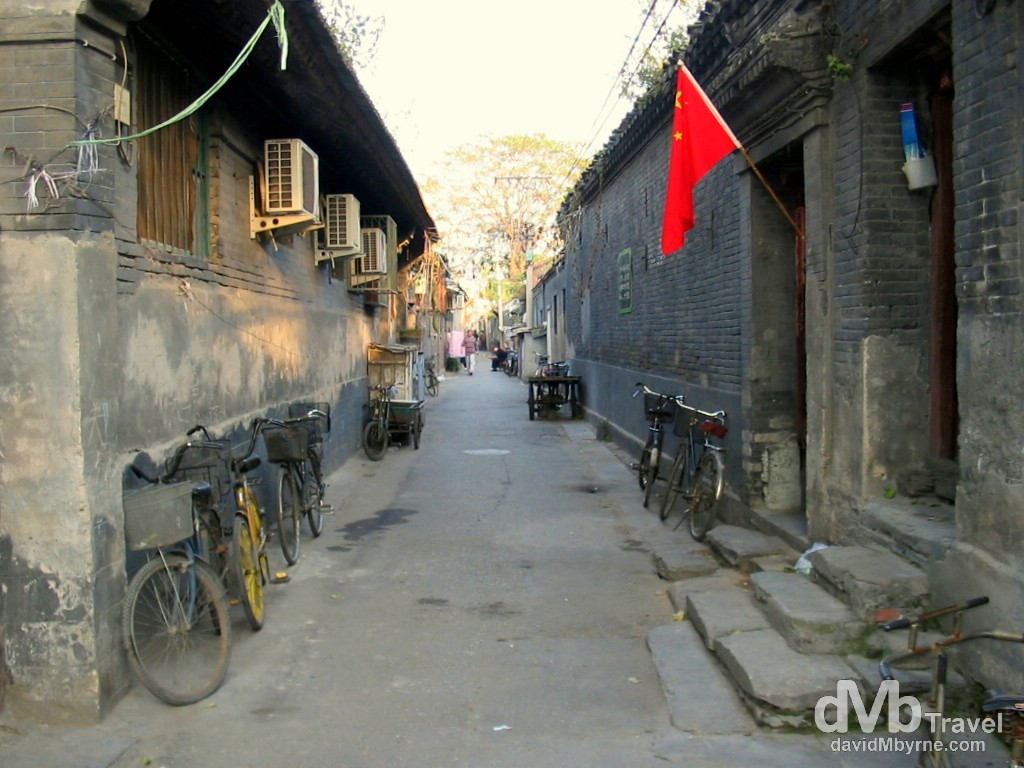 One of the remaining Hutongs, narrow residential alleyways, in the Qianmen district of Beijing. China. October 3rd, 2004