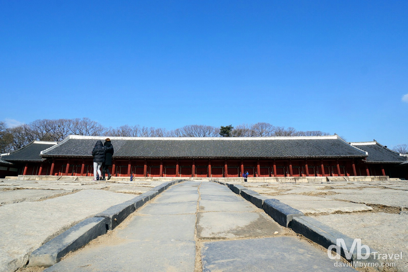 Jeongjeon, the largest building in the UNESCO listed Jongmyo Shrine in Seoul, South Korea. January 18th, 2014.