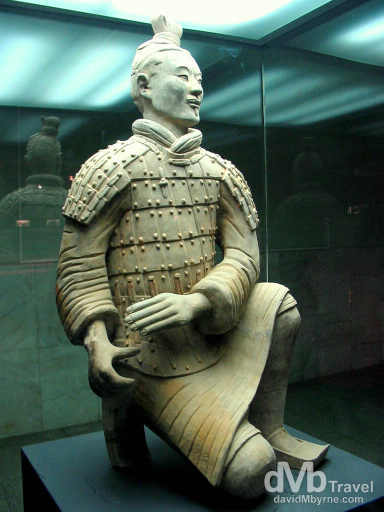 A kneeling archer figurine in the Museum of The Terracotta Army on the outskirts of Xian, Shaanxi Province, China. September 30th, 2004.