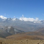 Himalayan vista on the 5,050-metre (16,650 ft) Lalung La Pass on the Friendship Highway, Tibet. March 3rd, 2008.