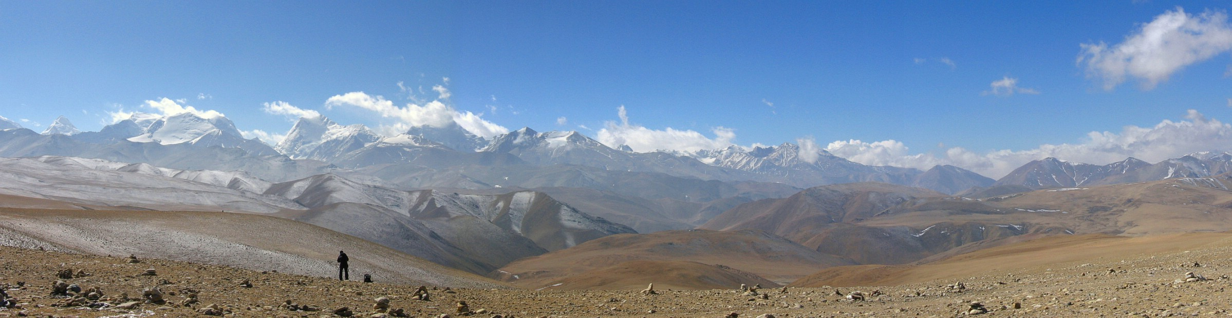 Himalayan vista on the 5,050-metre (16,650 ft) Lalung La Pass on the Friendship Highway, Tibet, en route to Nepal. March 3rd 2008