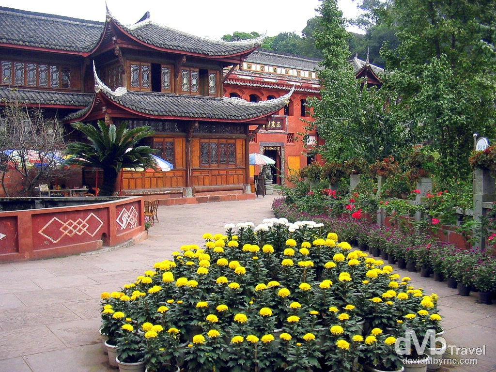 A monastery in the Leshan Giant Buddha Scenic Area, the area surrounding Dafo, The Giant Buddha. Leshan, Sichuan province, China. September 20th, 2004.
