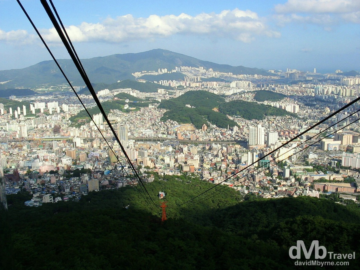 A portion of Busan, South Korea's second city, as seen from the cable car on Mt. Kumjeong (or Geumjeongsan). Busan, South, Korea. July 18th, 2004