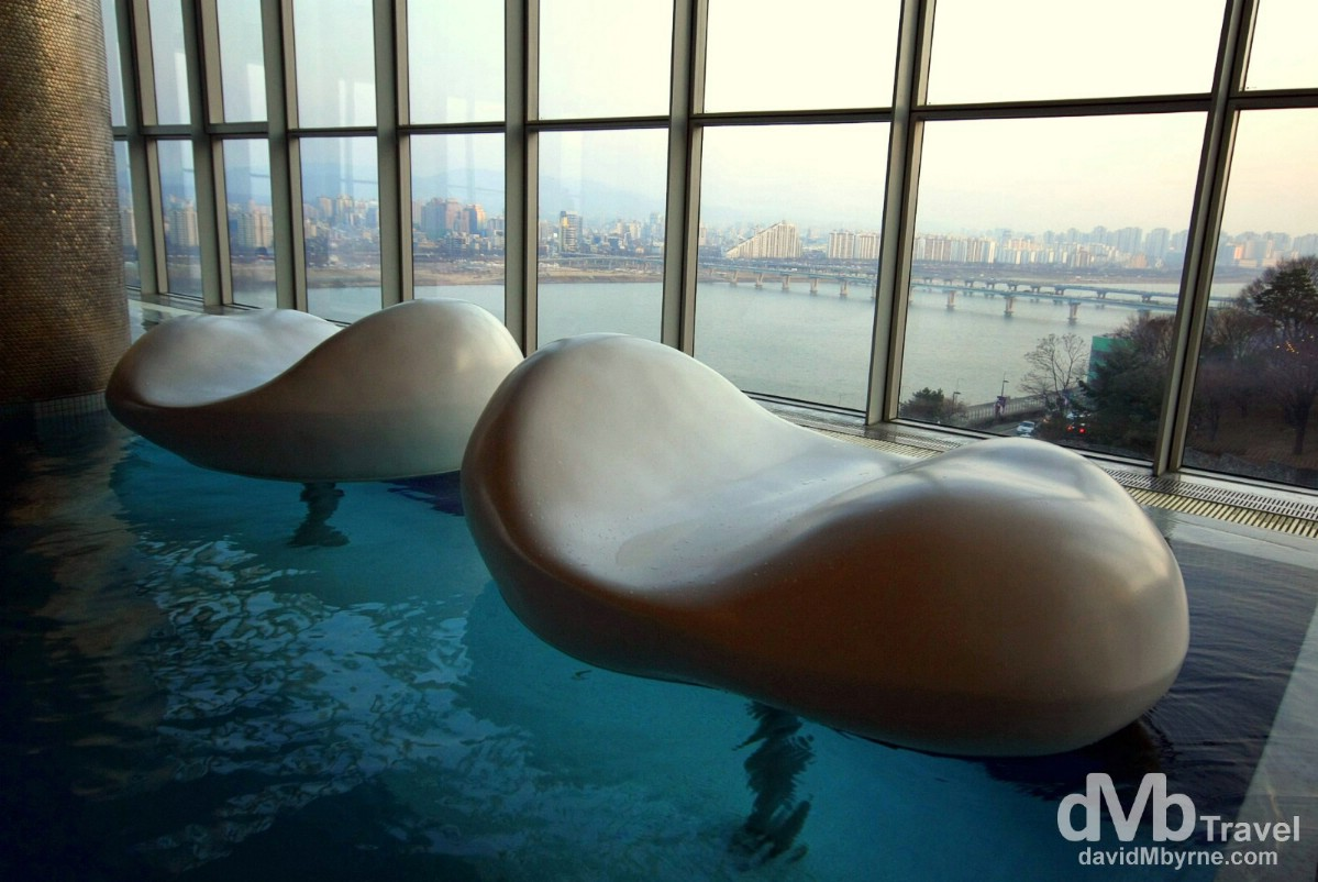 Pods in WET, the indoor pool of the W Hotel, Walkerhill, Seoul.