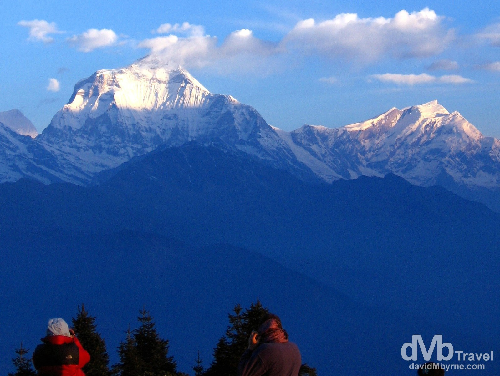 Early sunrise creeps up the face of Dhaulagiri (8,167 metres / 27,000 ft) as seen from Poon Hill, Annapurna Conservation Area, western Nepal. March 12th, 2008.