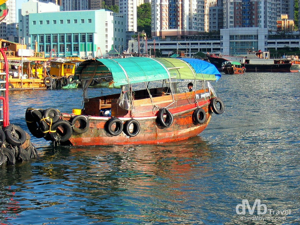 A traditional Sampan, a remnant of Hong Kong's past, in Aberdeen Harbour, Hong Kong Island, China. September 4th, 2004.