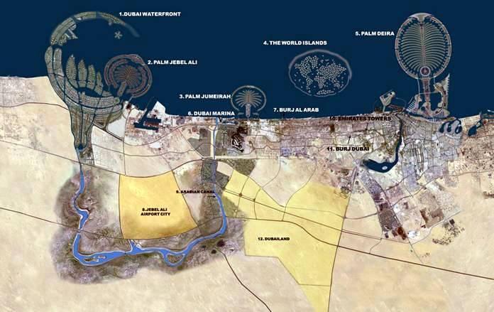 Dubai united arab emirates 2008 worldwide destination satellite map dubai gumiabroncs Gallery