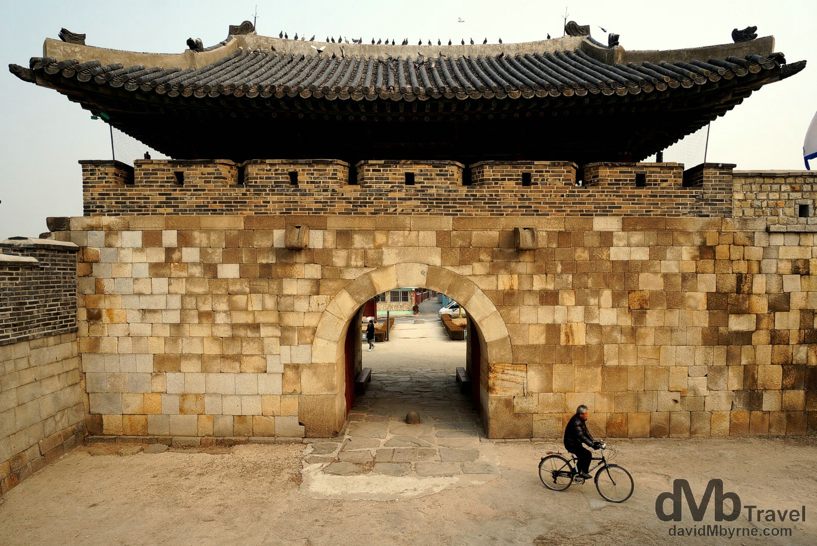 Cycling through a section of the Suwon Hwaseong Fortress in Suwon, South Korea. February 23rd, 2014.