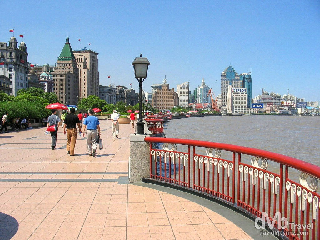The waterfront Bund by the Huangpu River in Shanghai, China. August 30th, 2004