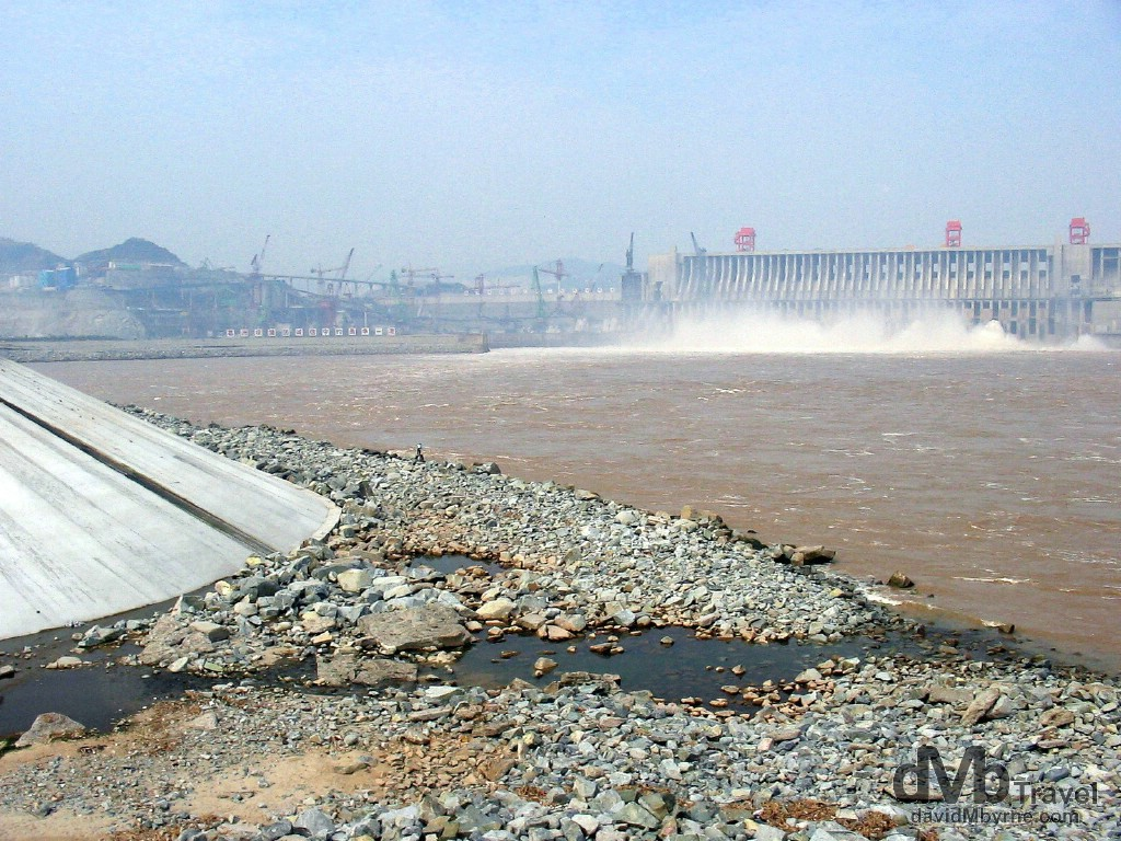A section of the incomplete Three Gorges Dam near Yichang, Hubei Province, China. September 28th, 2004.