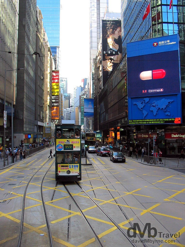 Trams in Central, Hong Kong Island, China, September 4th, 2004.