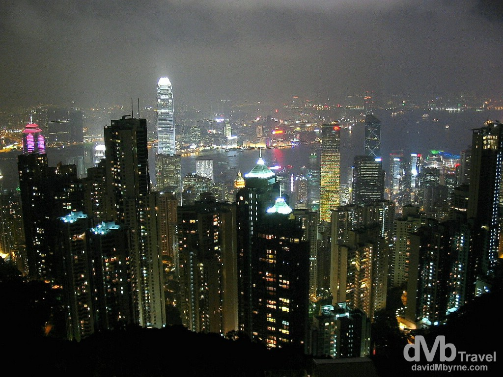 Hong Kong Island, the harbour & Kowloon (in the background) from Victoria Peak on Hong Kong Island. September 2nd, 2004