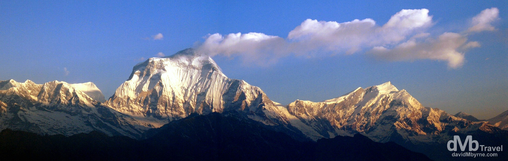 A panoramic picture of early sunrise on the face of Dhaulagiri (8,167 metres / 27,000 ft) as seen from Poon Hill, Annapurna Conservation Area, western Nepal. March 12th, 2008.