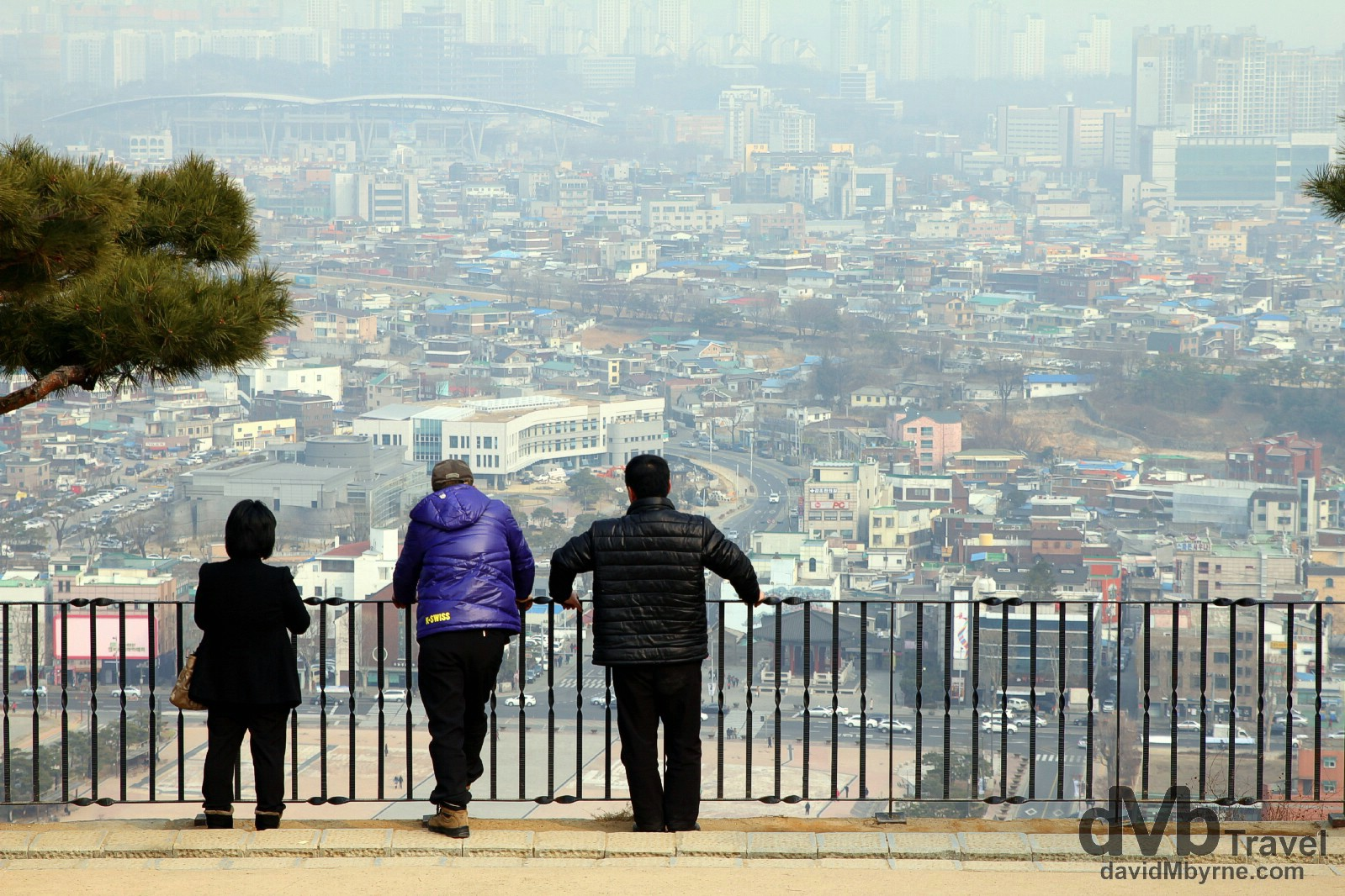 Viewing Sewon from atop Paldansan (Mt. Paldan), the highest point of Suwon Hwaseong Fortress in Suwon, South Korea. February 23rd, 2014.