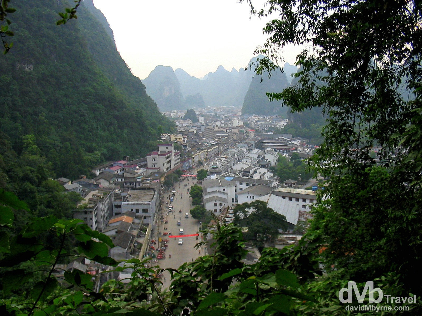 A view from the slopes of Bi Lian (Green Lotus) Hill of Yangshou, Guangxi Province, Southern China. September 10th, 2004.