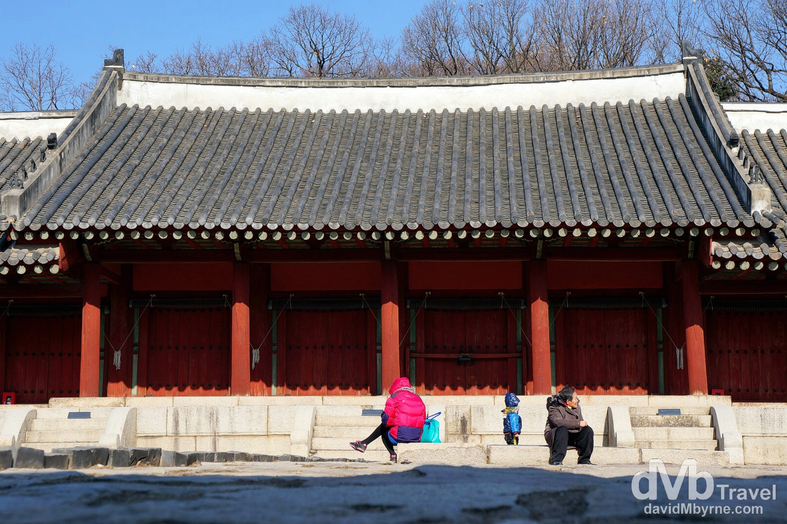 In the grounds of Yeongnyeongjeon in the UNESCO listed Jongmyo Shrine in Seoul, South Korea. January 18th, 2014.
