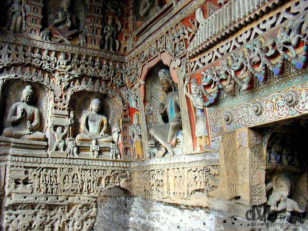 Buddhist carvings at the UNESCO listed Yungang Cave Complex in Shanxi Province, China. October 2nd, 2004.