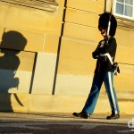 A guard outside Amalienborg, the winter residence of the Danish Royal family, in Copenhagen, Denmark. March 12th, 2014.