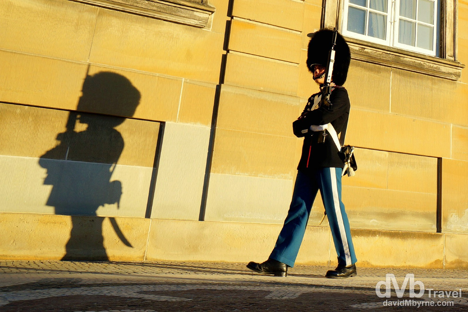 A guard outside Amalienborg, the winter residence of the Danish Royal family, in Copenhagen, Denmark. March 12th, 2014 (Nex-5r || SEL 18-55mm || 18mm, 1/160sec, f/8.0, iso100)