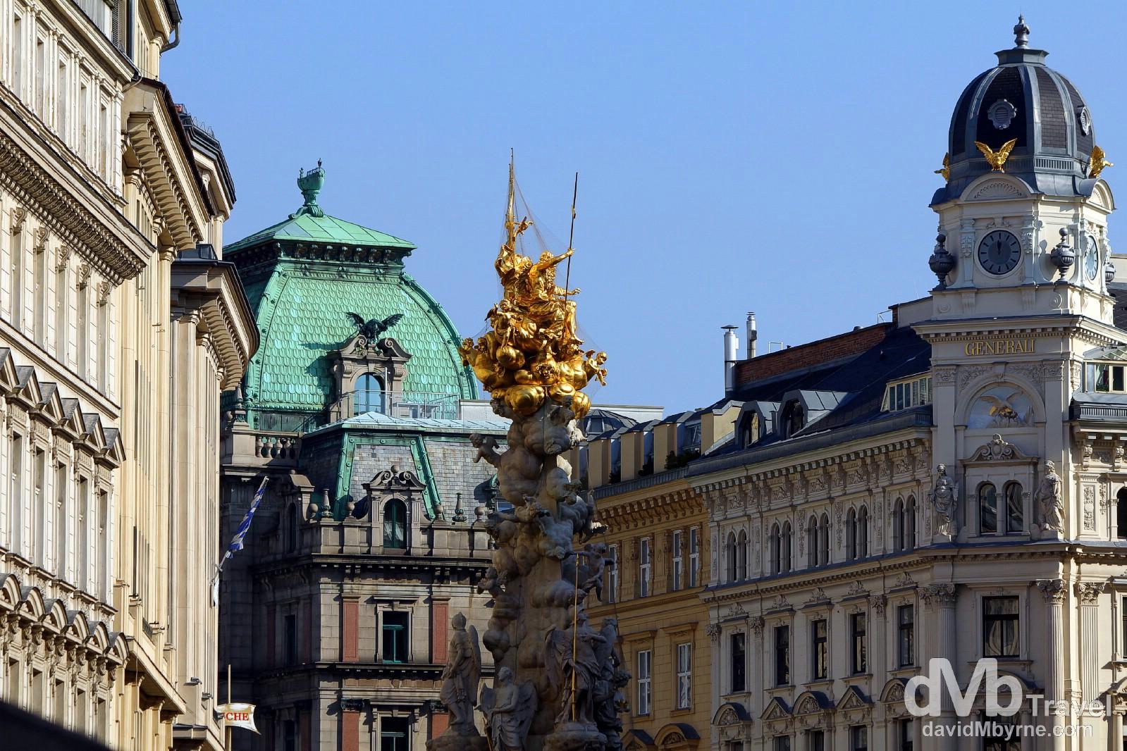 Buildings on Graben, a plush shopping street & the main pedestrian thoroughfare in Vienna, Austria. March 29th, 2014.
