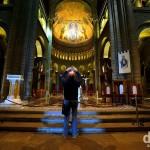 Inside the opulent 1875 Romanesque-Byzantine Cathedrale de Monaco, Monaco Ville, Monaco. March 14th, 2014.