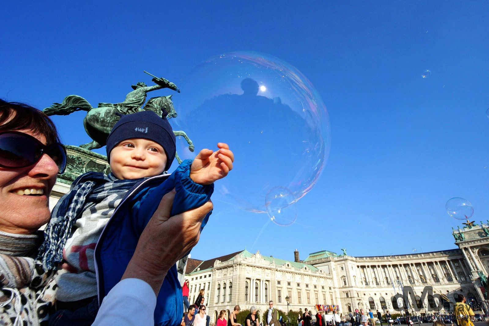 Playing with bubbles in Heldenplatz, Vienna, Austria. March 29th, 2014.