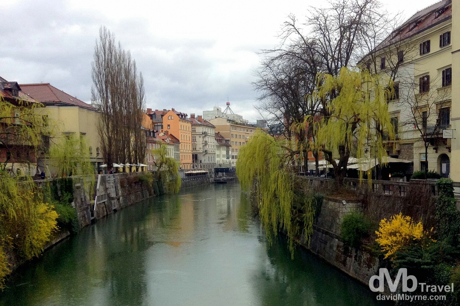 The Ljubljanica river in Ljubljana, Slovenia. March 23rd, 2014.
